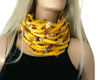Corn yellow/Mustard infinity scarf cowl,Unisex  crochet cowl, Eggyolk scarf  best friend gift, Bridesmaids gift -can be made in any quantity