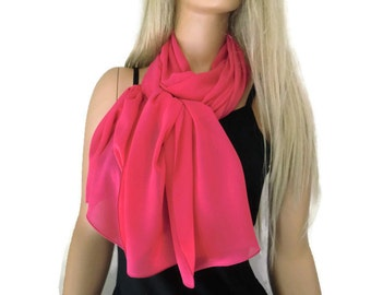 Solid pink  chiffon scarf-Lipstick pink Long chiffon scarf-Solid  pink chiffon scarves-Parisian Neck Tissu