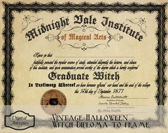 Vintage Halloween Witch Diploma Printable Digital Download