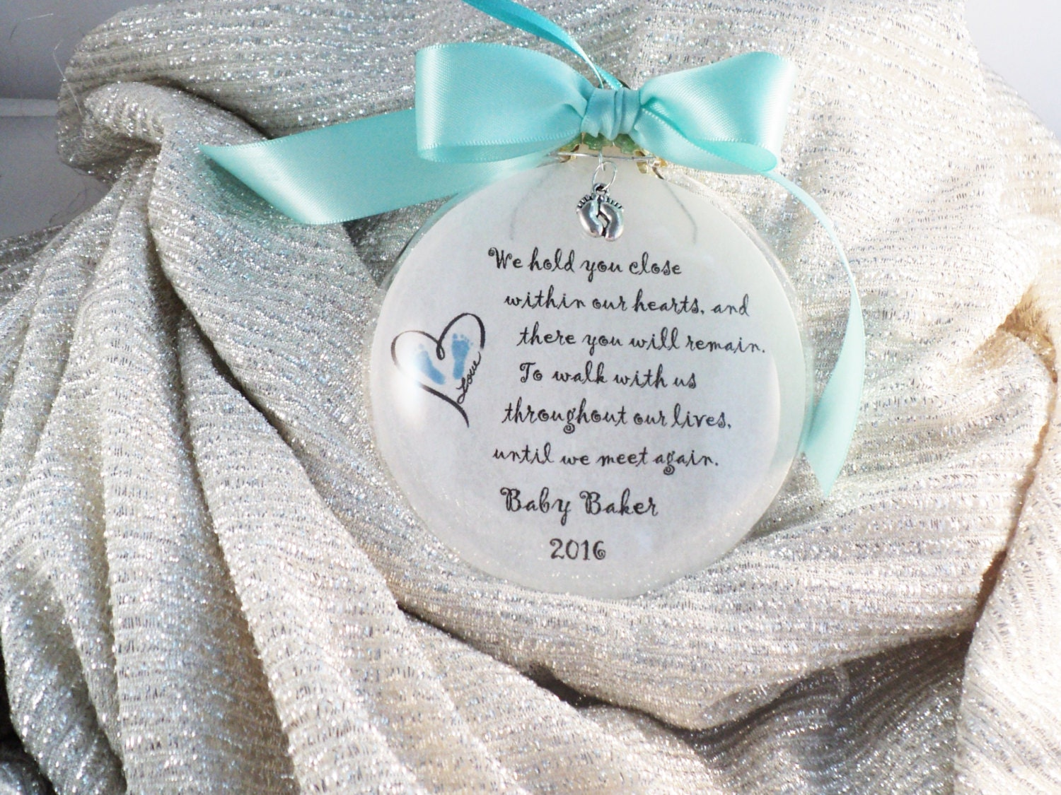 Personalized wedding christmas ornament - In Memory Baby Loss Miscarriage Infant Remembrance We Hold You Close Within Our