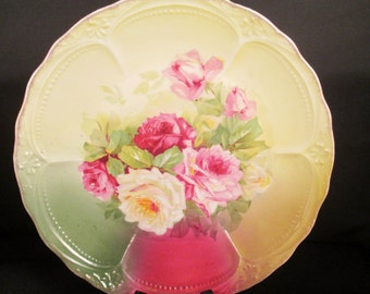 Antique Bavarian Rose Plate Cabbage Roses, handpainted, collectible plate