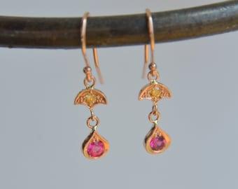 Rose Gold Petal Earrings, flower dangly earrings, spinel earrings, red gemstone earrings, orange diamond, petal dangly earrings