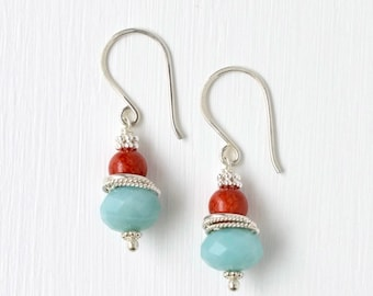Aqua Earrings / Coral Earrings / Sterling Silver Earrings / Stacked Beaded Earrings / Stacked Gemstone Earrings / Aqua Red Jewelry