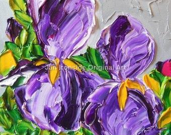 Purple Iris , Original Oil Painting Fine Art Impasto