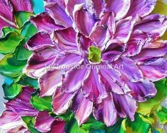 Oil Painting Purple Dahlia Impasto  Art Impressionist