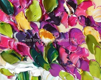 Original Oil Painting Magenta Floral Impasto Palette Knife Art Oil