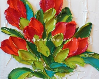 Palette Knife Oil  Painting  red tulips