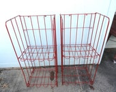 Vintage Store Fixture Wire Rack Metal Red Folding Display Stand