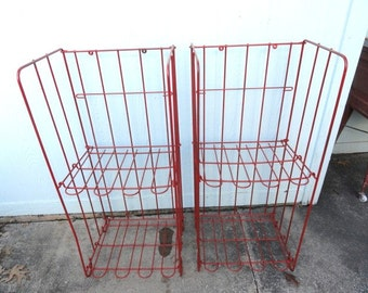Vintage Display Store Fixture Wire Rack Metal Red Folding Stand