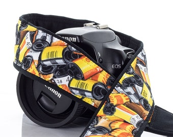 dSLR Camera Strap, 35mm Film, Yellow, Orange, Red, Black, SLR, 6