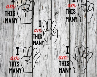 SVG, PNG, Studio3 Cut File, I am This Many BUNDLE, Silhouette Cut File, Cricut Cut File, Birthday