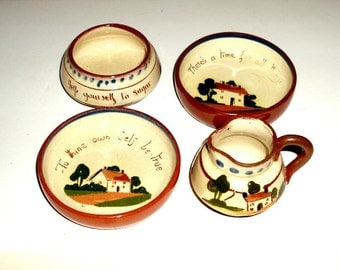 set of ANTIQUE ENGLISH WATCOMBE pottery,cream,sugar,2 dishes,vintage,Devon,England,1920's,rust,beige,green,brown,blue,houses,trees,cottages