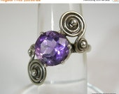 Love Yourself Sale Taxco Sterling Ring with Purple Amethyst Stone