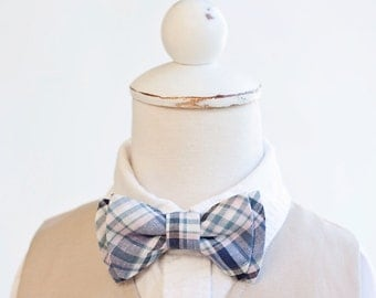 Bow Tie, Navy and Blush Organic Madras Plaid , Bow Ties, Boys Bow Ties, Baby Bow Ties, Bowtie, Bowties, Ring Bearer, Bow ties For Boys, Ties