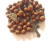 Antique Carved Wood Monastery Rosary 1880 Corozo Beads