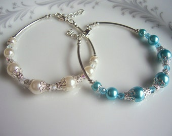 Pastel Bridesmaid Bracelet Spring Wedding Jewelry Sets Pearl and Crystal Bracelet for Bridesmaid Custom Color Pastel Jewelry