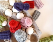 Knitted pom pom egg hat - choose your color and size - womans gift - stocking stuffer - small giftables - hostess gift