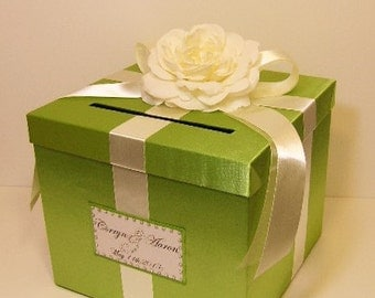 Wedding Card Box Lime Green and Ivory Gift Card Box Money Box Holder--Customize your color (10x10x9)