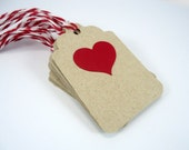 Red heart gift tags, Valentine's Day tags, heart wedding favor tags with string, red heart thank you tags, kraft gift tags, set of 10