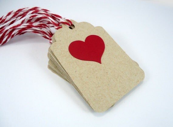 Red heart gift tags, Valentines Day tags, heart wedding favor tags ...