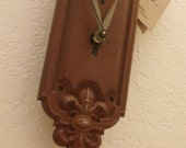 unique gift-upcycled-half past clocks-door knob clocks-pendulum clock- victorian with milk glass door knob