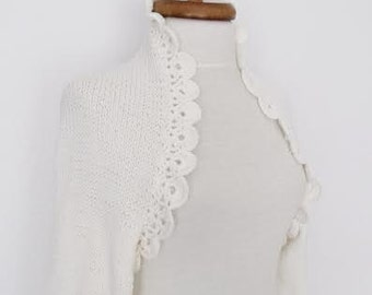 Ivory Wedding shrug- Bridal shrug long sleeves With Flower Brooches-( Large Size) Ready for shipping
