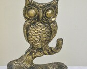 Vintage Carved Wood Owl Statue Figurine, Gold Washed Owl on Tree Branch