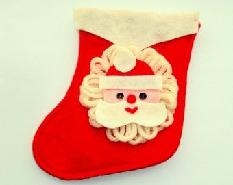 Vintage Felt Christmas Stocking, Santa Claus, Small, Holiday Decor, Decoration, Red and White, Sequin Eyes, Kitshy  (18-16)
