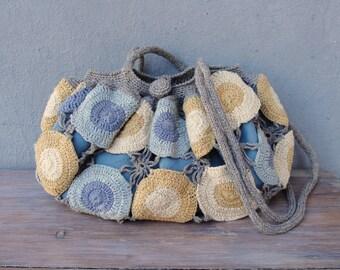 Happy Hobo Bag, Sunny Sky, Crocheted Blue Cream Yellow Bag