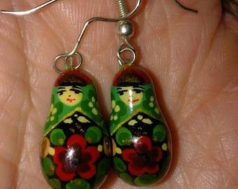 Vintage Wood Russian Doll Earrings Cute