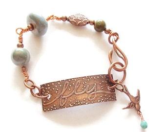 Ceramic and Copper Bracelet. Fly. Inspirational Jewelry.