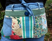 Upcycled Women's Tool Belt Apron for Garden/Craft-Made from Vintage Fabrics and Old Jeans; with blue, green, and roses; handmade in NC