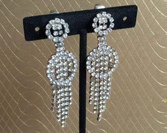 Vintage 1950s Deco-style Rhinestone Drop French Clip Earrings