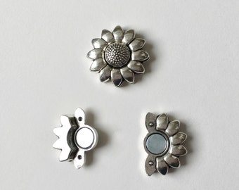 Antique Silver Sunflower Magnetic Clasp, 10x2mm Antique Brass Strong Magnetic Clasp for Flat Cord