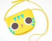 Yellow cat cross body bag