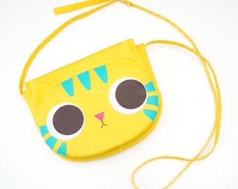 Yellow cat cross body bag