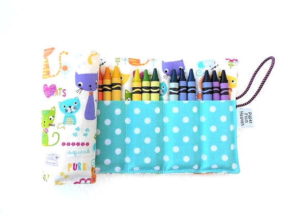 Crayon Roll - Cat & Mouse - kitty crayon holder, girl gift, 24 crayons