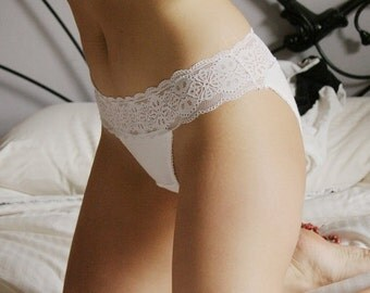 organic cotton panties with lace trim - CAROUSEL range - made to order