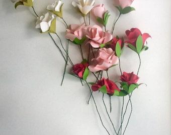 paper flower bouquet, paper flowers, paper flower stems