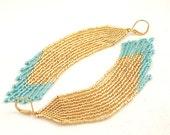 Beaded Fringe Earrings . Shoulder Length Beaded Earrings . Long Fringe Jewelry . Gold and Blue Seed Bead Jewelry