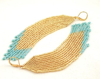 Beaded Fringe Earrings . Shoulder Length Beaded Earrings . Long Fringe Jewelry . Gold and Blue Seed Bead Jewelry