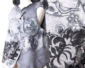 Wearable art merino wool women vest - Paris designer garment piece unique  - reversible - convertible into bolero - ecofriendly - warm cozy