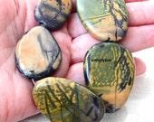Large Yellow Creek Jasper Gemstone Flat Nuggets Graduated Size 5 Focal Beads CRKET2