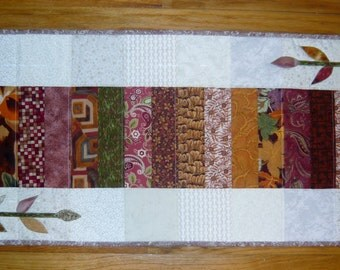 Quilted Scrappy Autumn Fall Table Runner