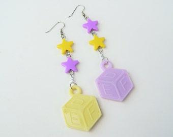 Pastel Alphabet Block Dangle Earrings Sweet Lolita Fairy Kei Decora Harajuku Fashion