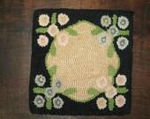 Vintage Hand Hooked Trivet, Hand Hooked Silk, Floral Hand Hooked Mat, Hooked Mat, Hooked Doily, Primitive