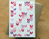 Pink purple lilac stocking stitch knit graphic - greeting card