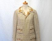 1960s Vintage Tweed Jacket / Beige Brown Gold Geometric Trim Jacket