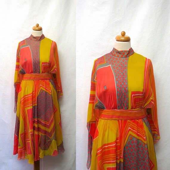 1960s / 70s Vintage Silk Chiffon Dress / Coral Chartreuse Grey Geo Colour Block Dress