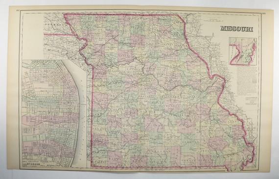 1876 Map of Missouri Large Map St Louis MO Map Vintage Man